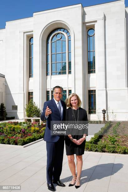 US former Governor of Massachusetts Mitt Romney and his wife Ann Romney pose as they attend the press presentation of the first temple of the Church...