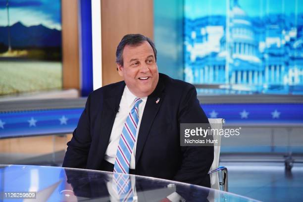 """Former Governor Of New Jersey Chris Christie visits """"The Daily Briefing With Dana Perino"""" at Fox News Channel Studios on January 30, 2019 in New York..."""