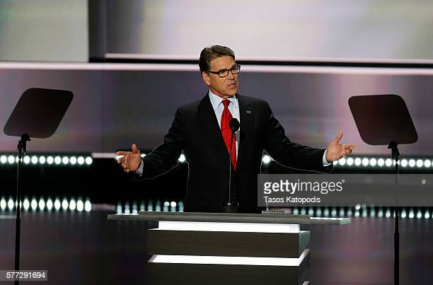 Former Governor of Texas Rick Perry speaks during the first day of the Republican National Convention on July 18 2016 at the Quicken Loans Arena in...