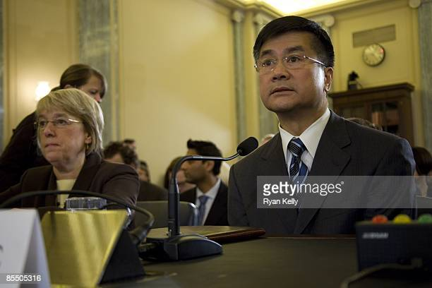 Former Governor of Washington and commerce secretary designee Gary Locke awaits his confirmation hearing in the Senate Commerce Science and...