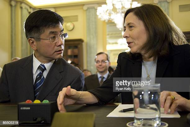 Former Governor of Washington and commerce secretary designee Gary Locke talks to his homestate Senator Maria Cantwell before his confirmation...
