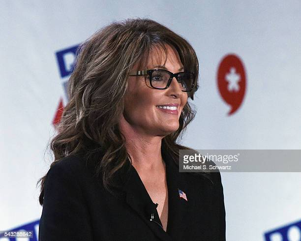 Former Governor Sarah Palin speaks during her appearance at Politicon at Pasadena Convention Center on June 26 2016 in Pasadena California