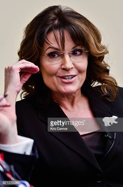 Former Governor Sarah Palin speaks during the Climate Hustle panel discussion at the Rayburn House Office Building on April 14 2016 in Washington DC