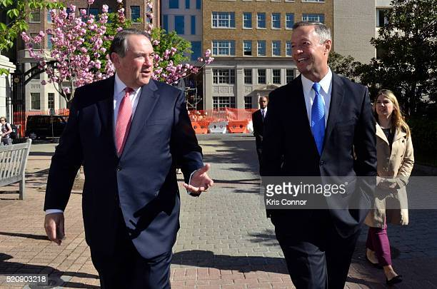 Former governors Mike Huckabee and Martin O'Malley speak during the TURN Washington Spies DC Key Art Unveiling at Kogan Plaza on The George...