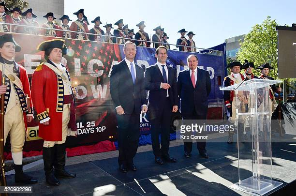 """Former governors Mike Huckabee and Martin O'Malley with actor Ian Kahn pose for a photo during the """"TURN: Washington Spies- DC Key Art Unveiling"""" at..."""