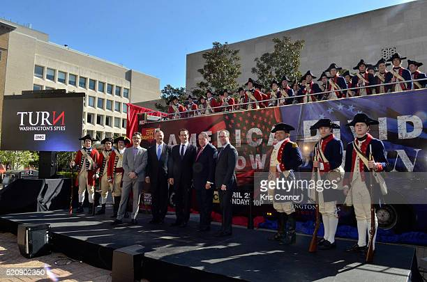 Former governors Mike Huckabee and Martin O'Malley with actor Ian Kahn and executive producers Barry Josephine and Craig Silverstein pose for a photo...
