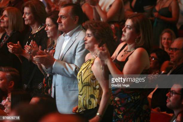 Former Governors of Puerto Rico Rafael Hernandez Colon and Sila Maria Calderon with her daughter Sila Marie Gonzalez attends the Olga Tanon Concert...