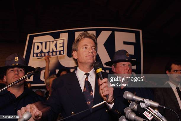 Former Grand Wizard of the Knights of the Ku Klux Klan and member of the Louisiana House of Representative David Duke campains for governor