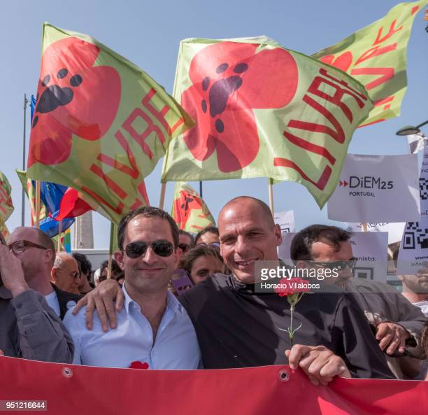 Former Greek Finance Minister Yanis Varoufakis and former French Socialist Party member and founder of Générations Benoit Hamon before walking...