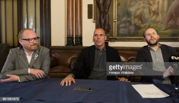 Former Greek Finance Minister Yanis Varoufakis founder of DiEM25 sits with Danish Member of Parliament for 'The Alternative' party Rasmus Nordqvist...