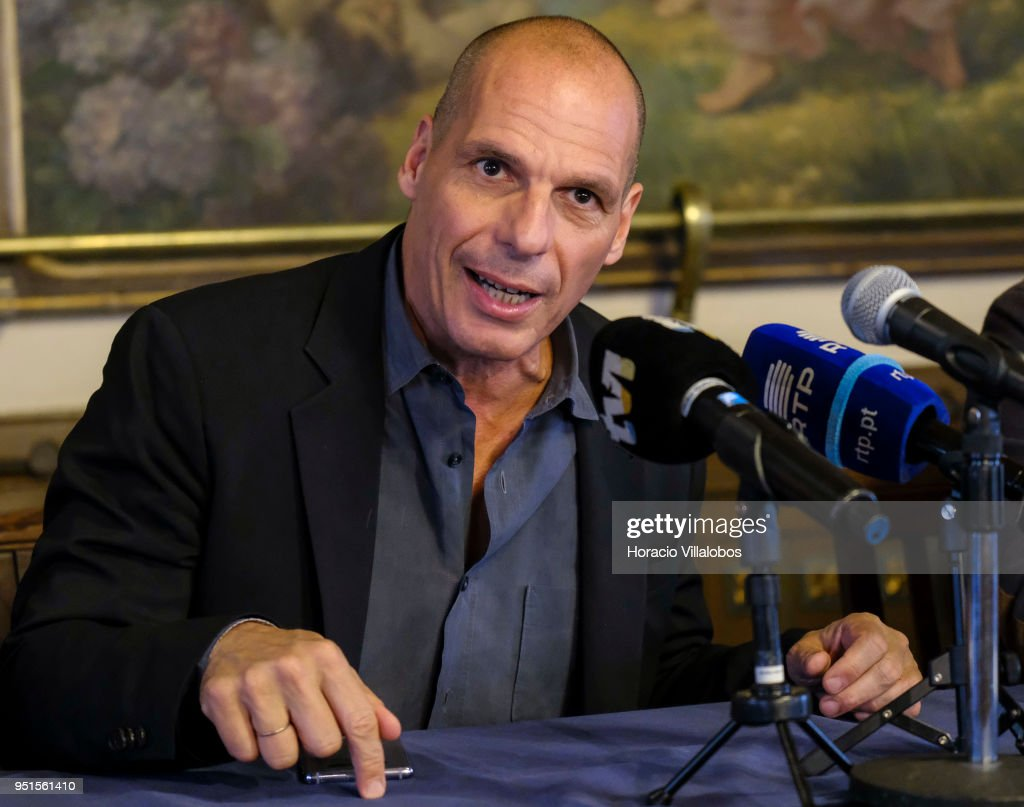 Former Greek Finance Minister Yanis Varoufakis, founder of DiEM25, talks to the press to announce that a group of different political parties will come under the new name of 'European Spring' during a press conference on April 26, 2018 in Lisbon, Portugal.