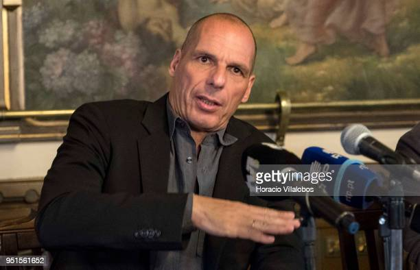 Former Greek Finance Minister Yanis Varoufakis founder of DiEM25 talks to the press to announce that a group of different political parties will come...