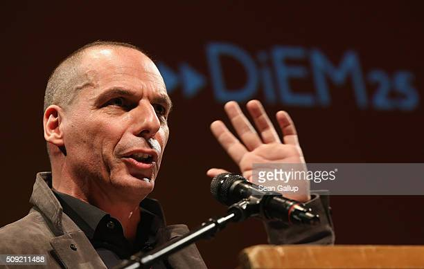 Former Greek Finance Minister Yanis Varoufakis speaks at the official launch of the Democracy in Europe Movement 2025 at the Volksbuehne theater on...