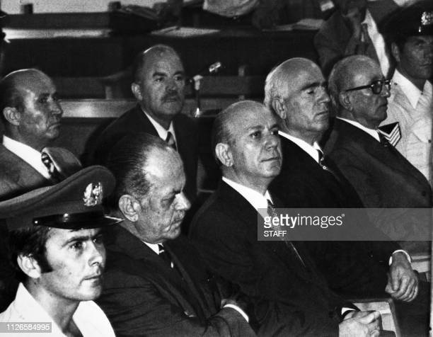 Former Greek President Georgios Papadopoulos former Colonel Nikolaos Makarezos and former General Stylianos Pattakos wait in their trial on August 24...