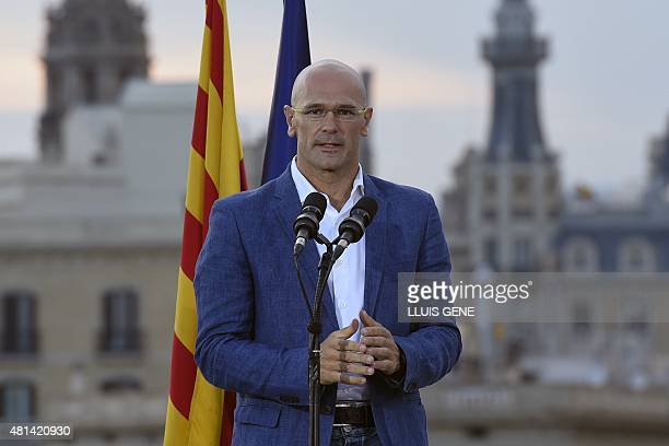 Former Green European deputy and leader list of Junts pel Si Raul Romeva speaks in Barcelona on July 20 2015 during the presentation of a pact to run...