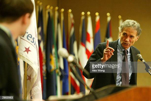 Former Green Party presidential candidate Ralph Nader answers questions from a student during a lecture February 9, 2004 at Georgetown University in...