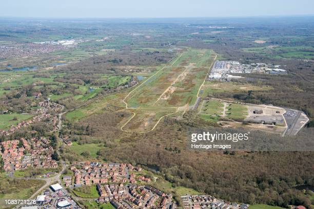 Former Greenham Common Airbase, Newbury, West Berkshire, 2018. Aerial view from the south-west. Opened in 1942, the airfield was used by the RAF and...