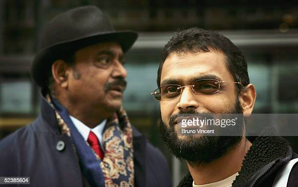 Former Guantanamo detainee Moazzam Begg and his father Azmat Begg leave the Home Office after delivering a petition on March 14 2005 in London...