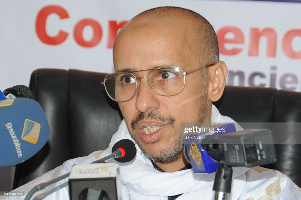 Former Guantanamo prisoner Mohamedou Ould Slahi gives a press conference in Nouakchott on October 22, 2016. A former Guantanamo Bay detainee from Mauritania who wrote a best-selling book about his experiences said Saturday he forgives those who tortured and detained him without trial for 14 years. Mohamedou Ould Slahi arrived home in west Africa on October 17, bringing the prison's remaining population down to 60 as the United States accelerates releases from the facility. / AFP / STRINGER