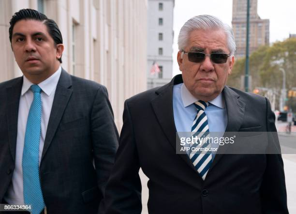 Former Guatamalan judge Hector Trujillo arrives for sentencing on October 25, 2017 at the Brooklyn Federal Court in New York City. A 63-year-old...