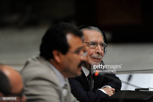 Former Guatemalan de facto President retired General Jose Efrain Rios Montt attends the opening of the trial on charges of genocide during his de...