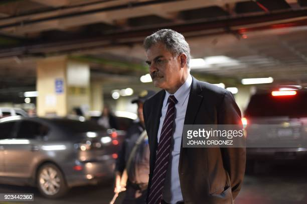 Former Guatemalan finance minister and the chairman of underfire Britishbased charity group Oxfam International Juan Alberto Fuentes Knight arrives...