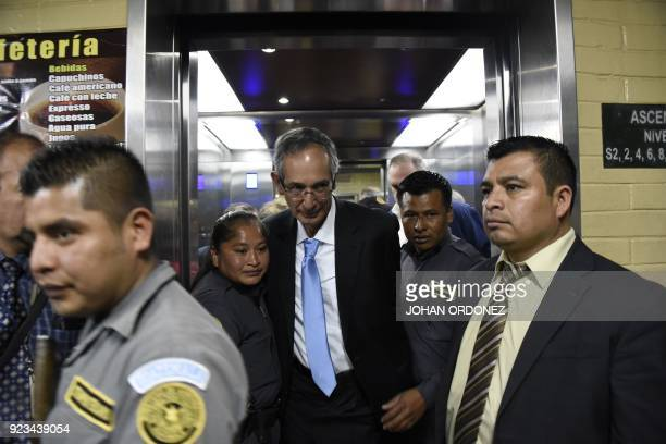 Former Guatemalan President Alvaro Colom arrives at a court hearing in Guatemala City on February 23 2018 Colom and nine ministers of his former...