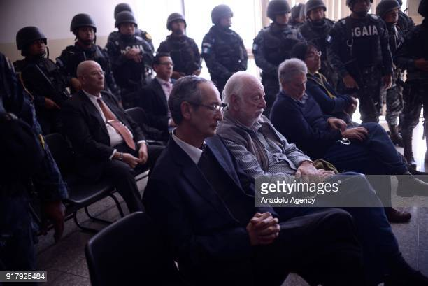 Former Guatemalan President Alvaro Colom attends a court hearing after his arrest on corruption charges in Guatemala City on February 13 2018 Colom...