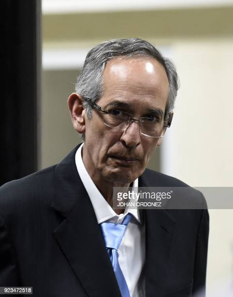 Former Guatemalan President Alvaro Colom attends a court hearing in Guatemala City on February 23 2018 Colom and nine ministers of his former...