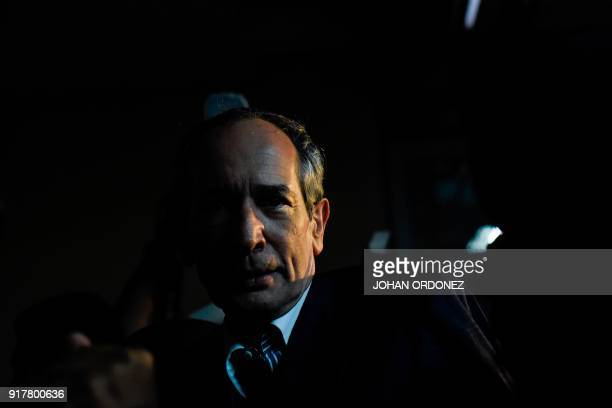 Former Guatemalan President Alvaro Colom is arrested under corruption charges in Guatemala City on February 13 2018 Guatemalan authorities on Tuesday...
