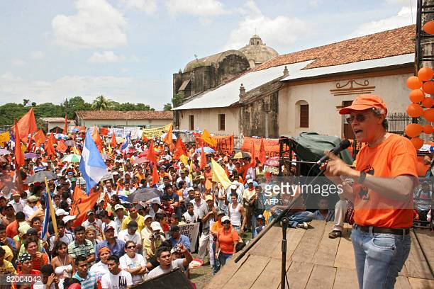 Former guerrilla commander Dora Maria Tellez delivers a speech during a ceremony commemorating the 29th anniversary of the Sandinista Revolution...