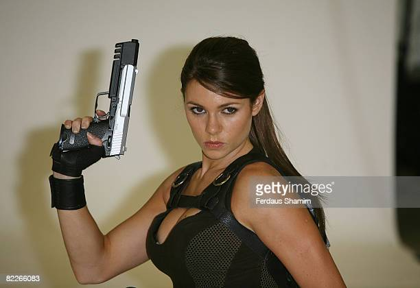 Former gymnast Alison Carroll is presented as the new face of computer game character Lara Croft at Pineapple Studios on August 11 2008 in London...