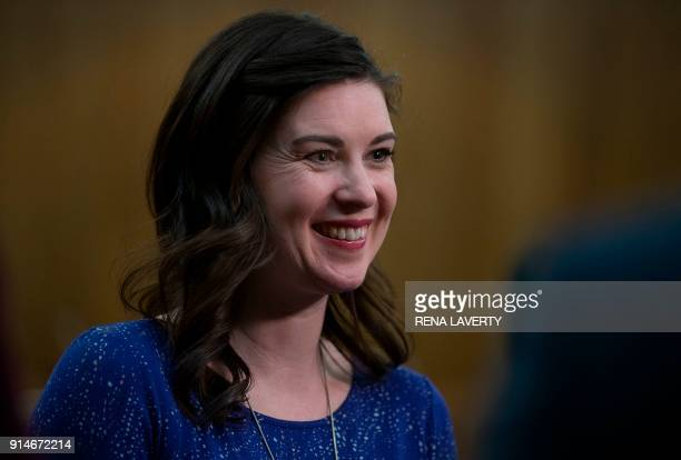 Former gymnast Larissa Boyce smiles while talking to the media at the conclusion of the sentencing of former Michigan State University and USA...