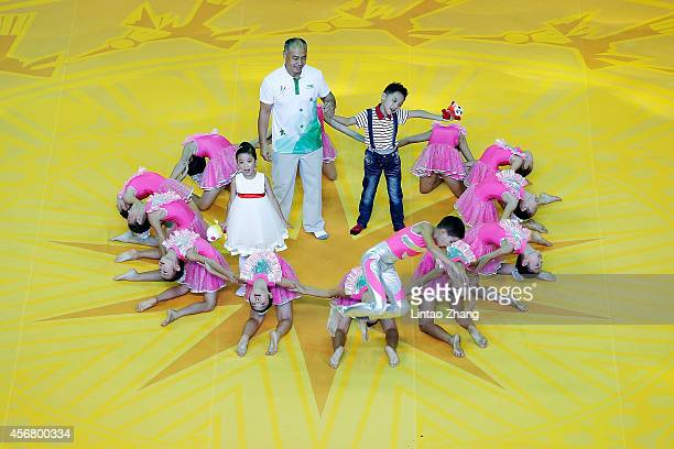 Former Gymnast Li Ning attend the opening ceremony of the 45th Artistic Gymnastics World Championships at Guangxi Sports Center Stadium on October 7...