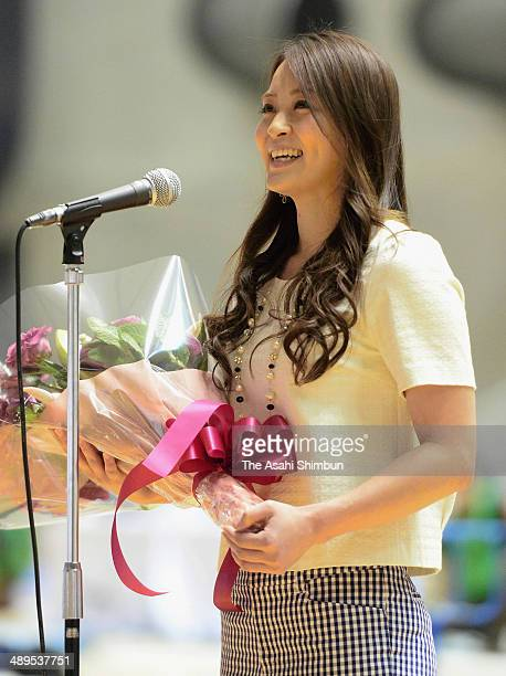 Former gymnast Rie Tanaka speaks to fans at her retirement ceremony during day three of the All Japan Artistic Gymnastics Individual All Around...