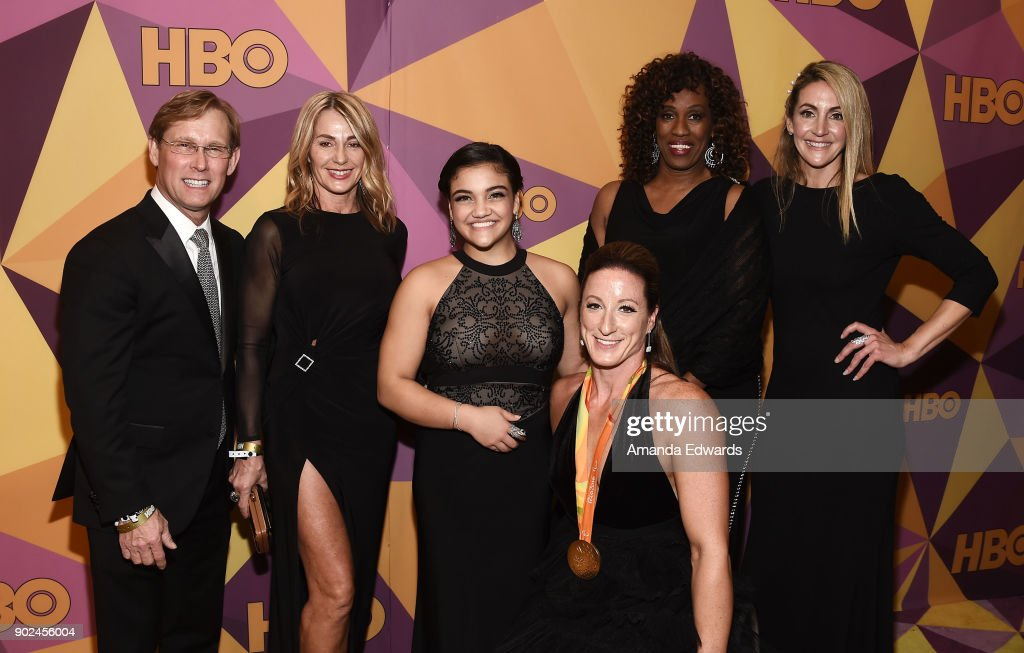 Former gymnasts Bart Conner and Nadia Comaneci, gymnast Laurie Hernandez, athlete Tatyana McFadden, former athletes Jackie Joyner-Kersee and Summer Sanders arrive at HBO's Official Golden Globe Awards After Party at Circa 55 Restaurant on January 7, 2018 in Los Angeles, California.
