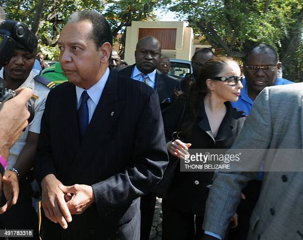 Former Haitian dictator JeanClaude Duvalier and his wife Veronique Roy Duvalier arrive on January 20 2012 in front of the Palace of Justice in...
