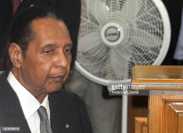 Former Haitian president JeanClaude Baby Doc Duvalier arrives February 28 2013 in court in PortauPrince Duvalier appeared in court Thursday for a...