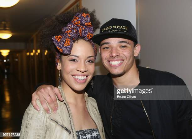Former 'Hamilton' costars Sasha Hutchings and Anthony Ramos posese backstage at the hit revival of Lincoln Center Theater's 'My Fair Lady' on...