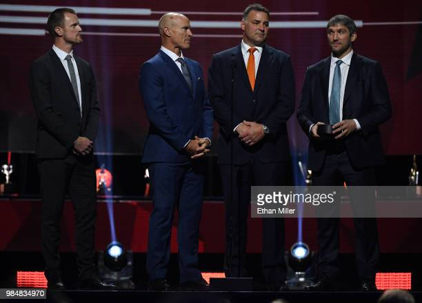 Former Hart Trophy winners Henrik Sedin of the Vancouver Canucks Hockey Hall of Fame members Mark Messier and Eric Lindros and Alex Ovechkin of the...