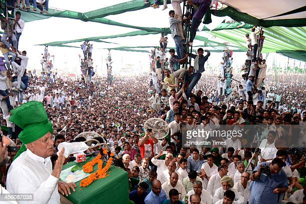 Former Haryana chief minister and INLD supremo Om Prakash Chautala addressing supporters at a rally organised to mark the 100th birth anniversary of...