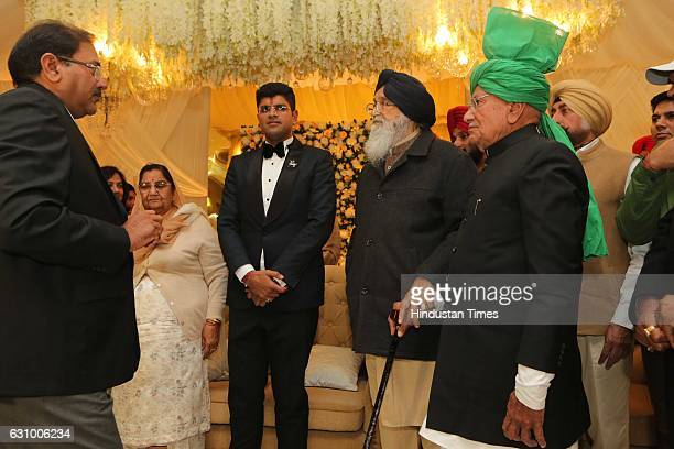 Former Haryana Chief Minister Om Prakash Chautala along with his grandson and MP from Hisar Dushyant Chautala and Punjab Chief Minister Parkash Singh...