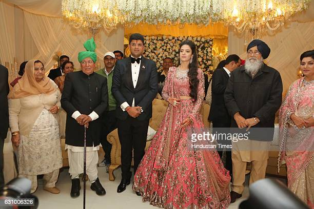 Former Haryana Chief Minister Om Prakash Chautala along with his grandson and MP from Hisar Dushyant Chautala and Meghna Ahlawat daughter of IPS...