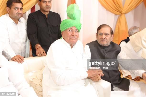 Former Haryana Chief Minister Om Prakash Chautala and Janata Dal party leader Sharad Yadav during the wedding reception of INLD MP Dushyant Chautala...