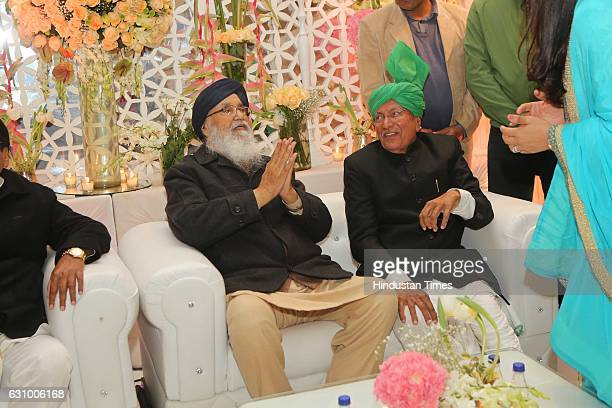Former Haryana Chief Minister Om Prakash Chautala and Punjab Chief Minister Parkash Singh Badal during an engagement ceremony of Hisar MP Dushyant...