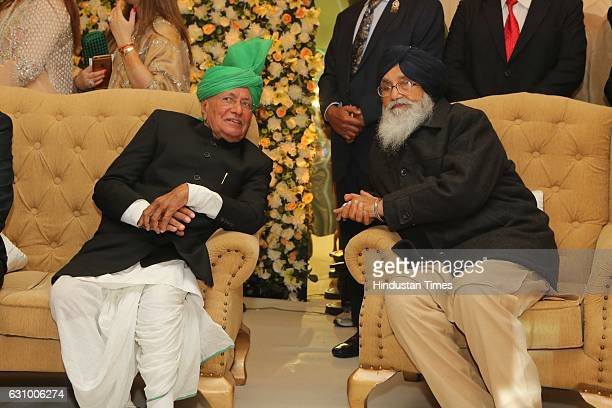 Former Haryana Chief Minister Om Prakash Chautala and Punjab Chief Minister Parkash Singh Badal during an engagement ceremony of Hisar MP Dushyant...