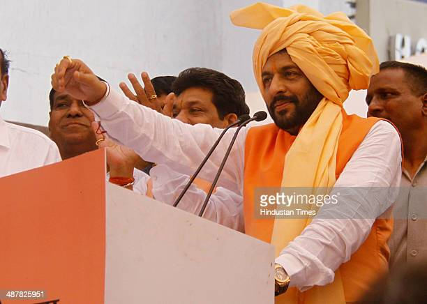 Former Haryana minister and Independent MLA from Sirsa City Gopal Kanda launch his new party Haryana Lokhit party on May 2 2014 in Gurgaon India...