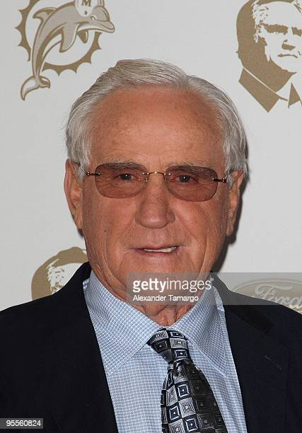 Former head coach Don Shula of the Miami Dolphins attends the Miami Dolphins game at Landshark Stadium on January 3 2010 in Miami Florida