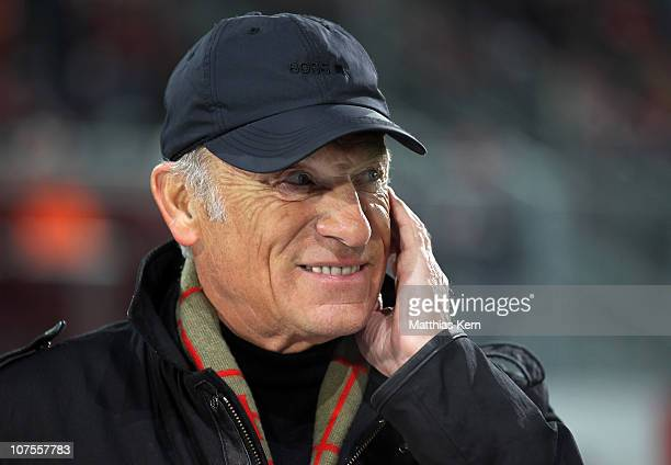 Former head coach Eduard Geyer of Cottbus is seen prior to the Second Bundesliga match between FC Energie Cottbus and 1.FC Union Berlin at Stadion...