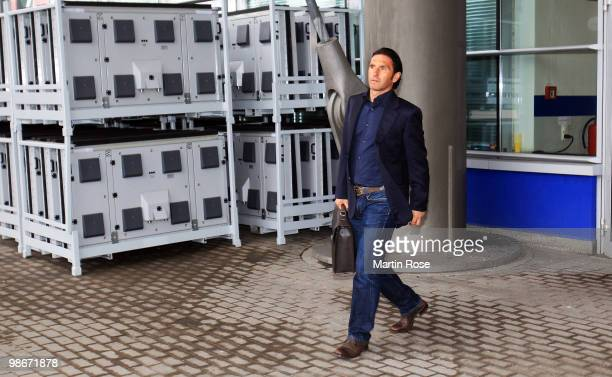 Former head coach of Hamburg Bruno Labbadia is seen after the Hamburger SV training session at the HSH Nordbank Arena on April 26 2010 in Hamburg...